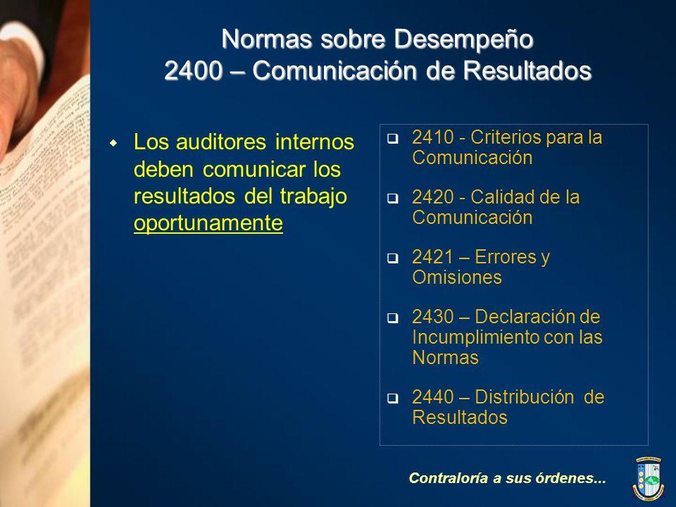 Normas sobre Desempeño 2400 – Comunicación de Resultados