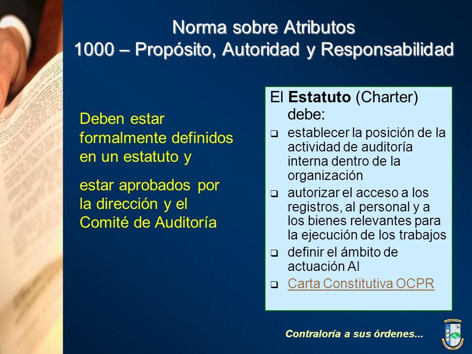 Norma sobre Atributos 1000 – Propósito, Autoridad y Responsabilidad