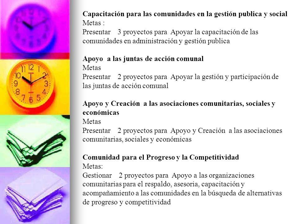 Capacitación para las comunidades en la gestión publica y social