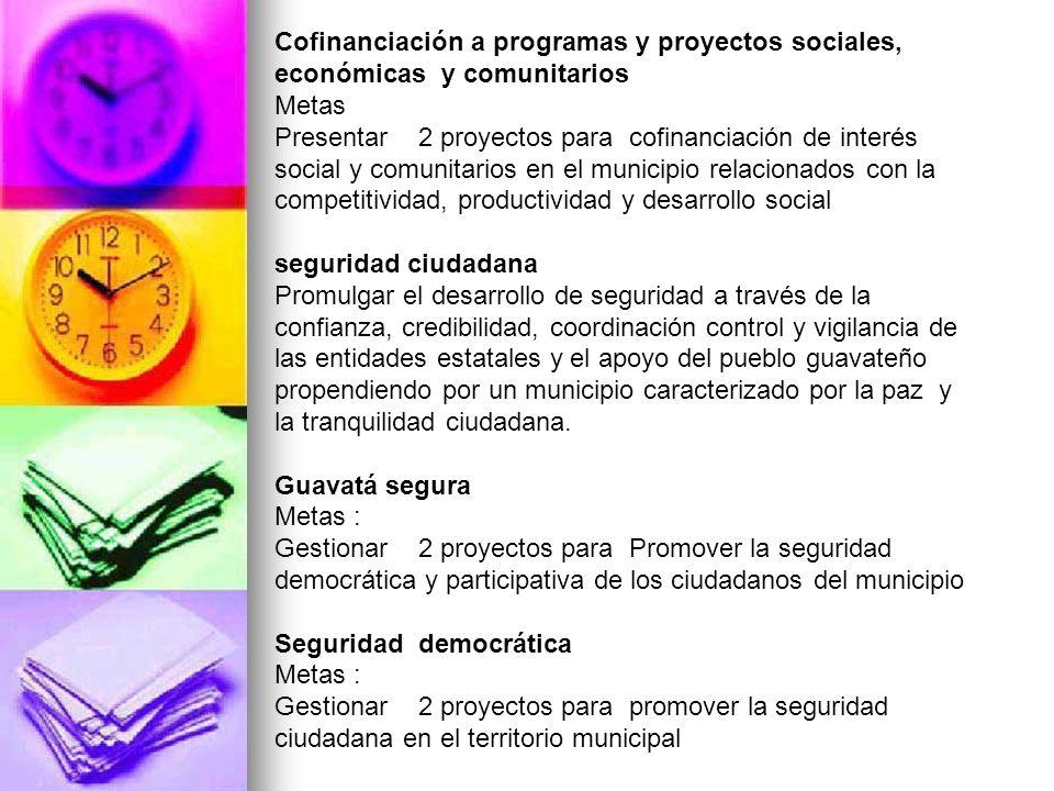 Cofinanciación a programas y proyectos sociales, económicas y comunitarios