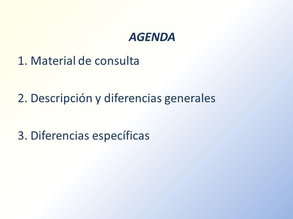 AGENDA 1. Material de consulta 2. Descripción y diferencias generales 3. Diferencias específicas