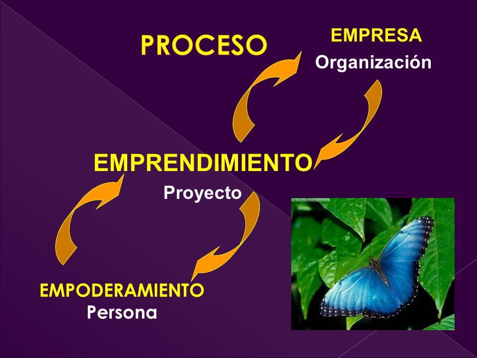PROCESO EMPRENDIMIENTO EMPRESA Organización Proyecto EMPODERAMIENTO