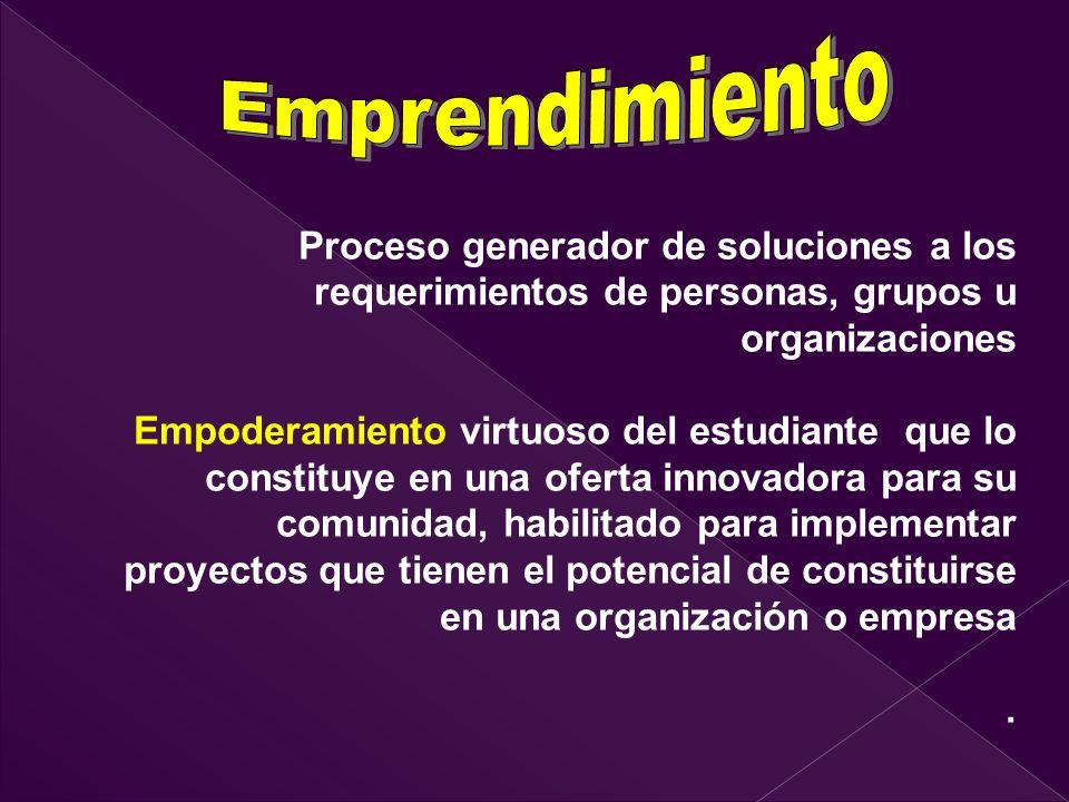 Emprendimiento Proceso generador de soluciones a los requerimientos de personas, grupos u organizaciones.