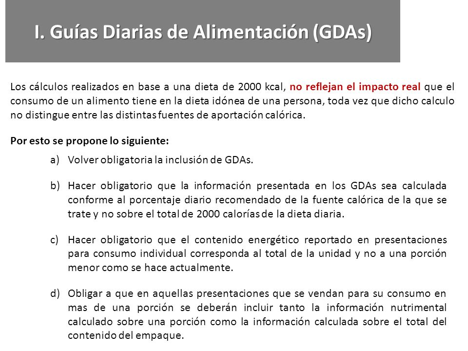 I. Guías Diarias de Alimentación (GDAs)