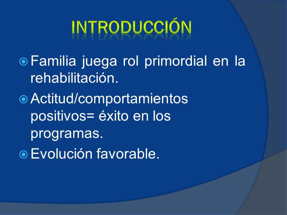 INTRODUCCIÓN Familia juega rol primordial en la rehabilitación.