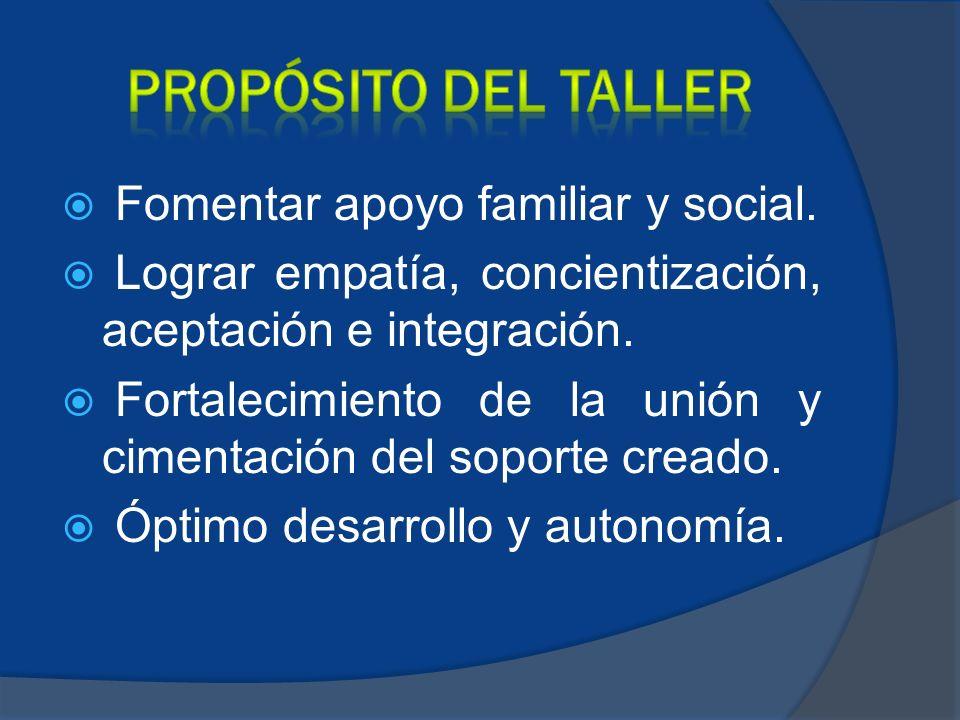 PROPÓSITO DEL TALLER Fomentar apoyo familiar y social.