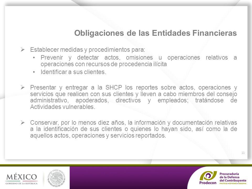 Obligaciones de las Entidades Financieras