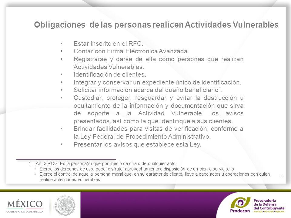 Obligaciones de las personas realicen Actividades Vulnerables