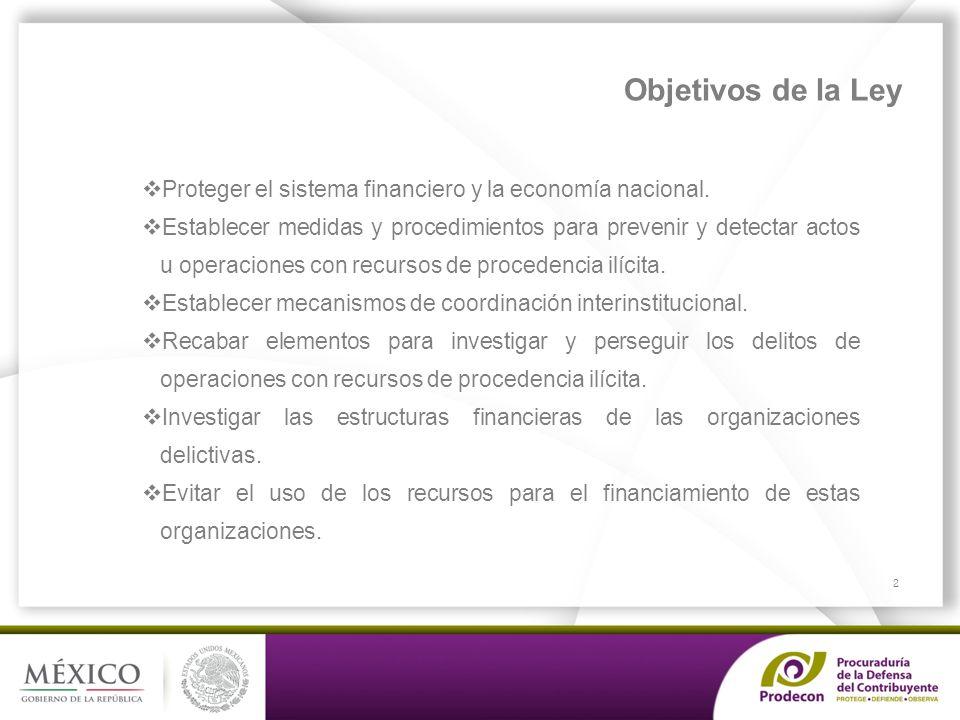 Objetivos de la Ley Proteger el sistema financiero y la economía nacional.