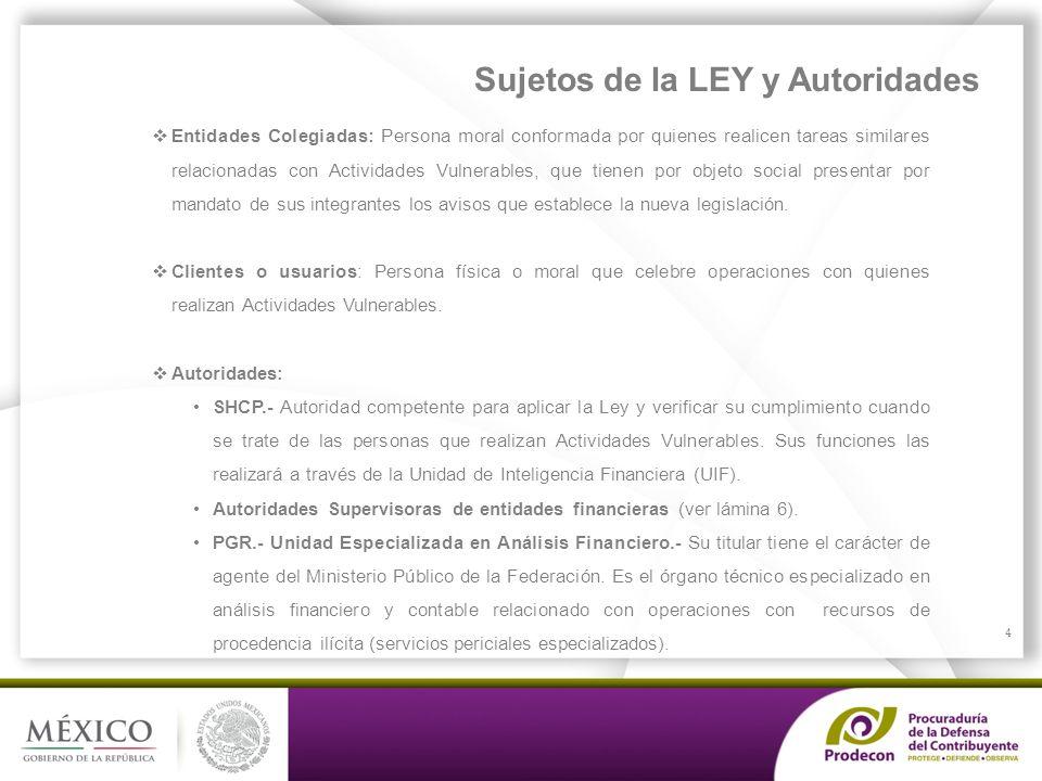 Sujetos de la LEY y Autoridades