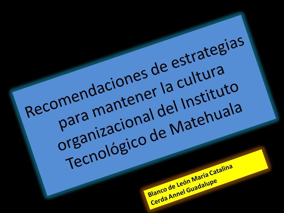 Recomendaciones de estrategias para mantener la cultura organizacional del Instituto Tecnológico de Matehuala