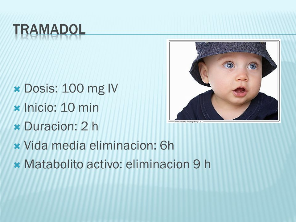 tramadol Dosis: 100 mg IV Inicio: 10 min Duracion: 2 h