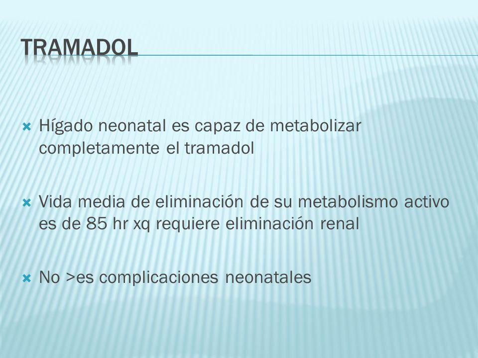 tramadol Hígado neonatal es capaz de metabolizar completamente el tramadol.