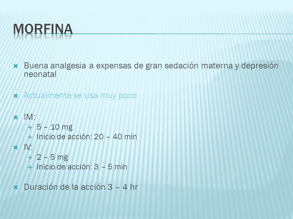 morfina Buena analgesia a expensas de gran sedación materna y depresión neonatal. Actualmente se usa muy poco.