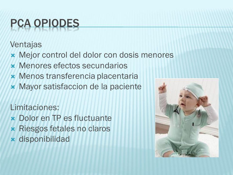 PCA opiodes Ventajas Mejor control del dolor con dosis menores