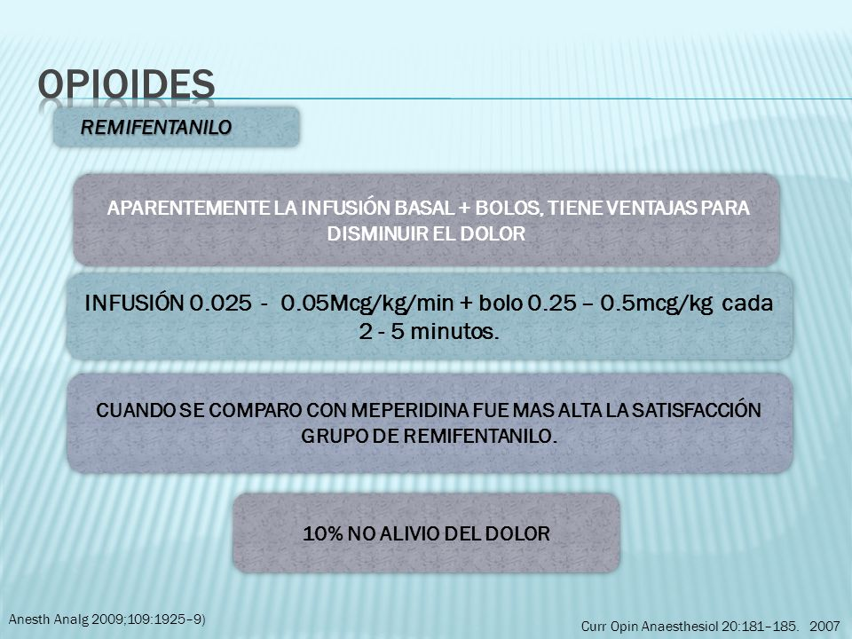 Opioides REMIFENTANILO. APARENTEMENTE LA INFUSIÓN BASAL + BOLOS, TIENE VENTAJAS PARA DISMINUIR EL DOLOR.