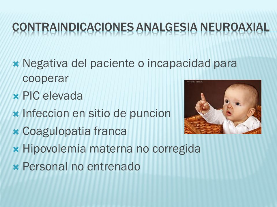 CONTRAINDICACIONES ANALGESIa neuroaxial