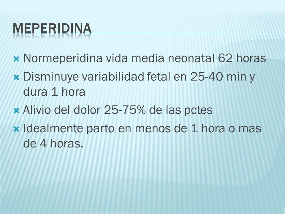 MEPERIDINA Normeperidina vida media neonatal 62 horas