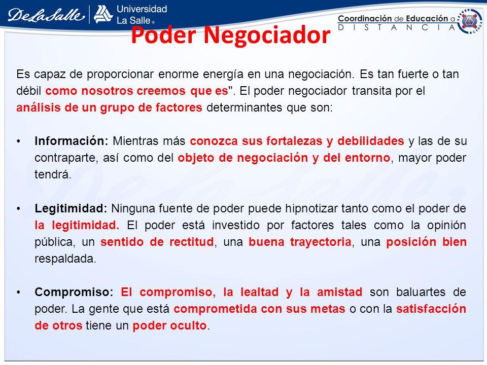 Poder Negociador Es capaz de proporcionar enorme energía en una negociación. Es tan fuerte o tan.