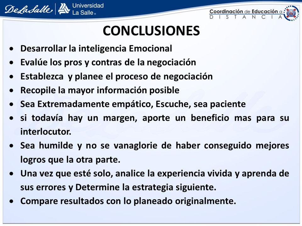 CONCLUSIONES Desarrollar la inteligencia Emocional