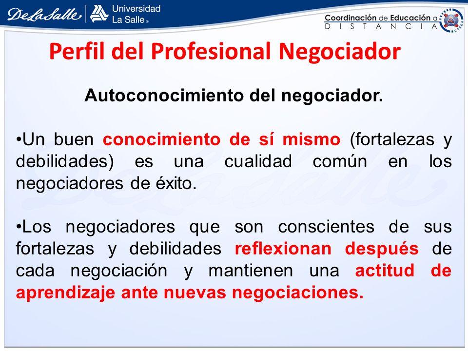 Autoconocimiento del negociador.