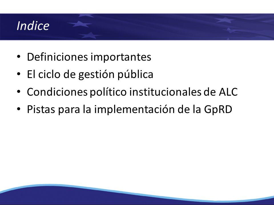 Indice Definiciones importantes El ciclo de gestión pública