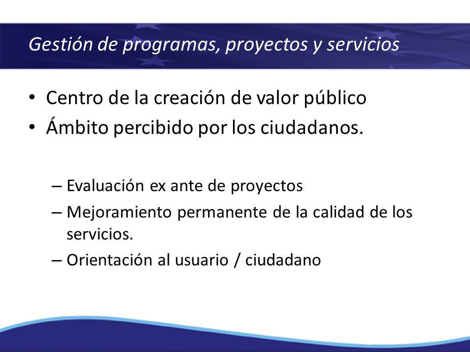 Gestión de programas, proyectos y servicios