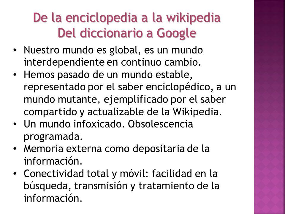 De la enciclopedia a la wikipedia Del diccionario a Google