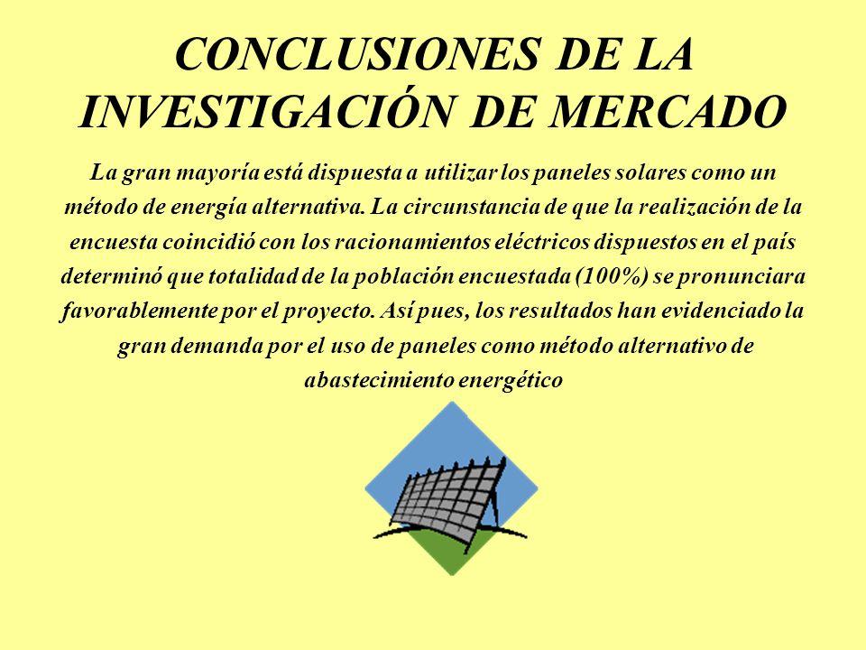 CONCLUSIONES DE LA INVESTIGACIÓN DE MERCADO