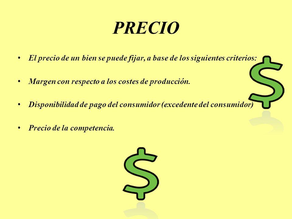 PRECIO El precio de un bien se puede fijar, a base de los siguientes criterios: Margen con respecto a los costes de producción.