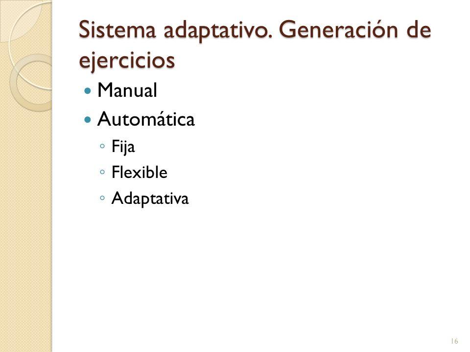 Sistema adaptativo. Generación de ejercicios