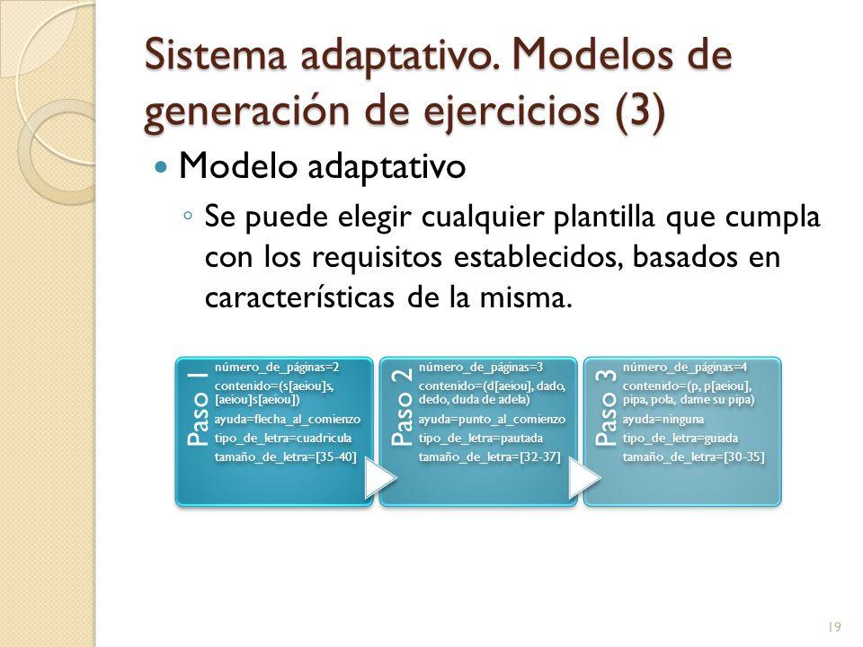 Sistema adaptativo. Modelos de generación de ejercicios (3)