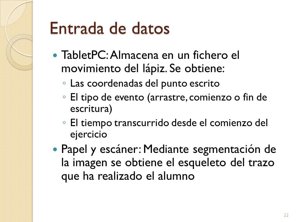 Entrada de datos TabletPC: Almacena en un fichero el movimiento del lápiz. Se obtiene: Las coordenadas del punto escrito.