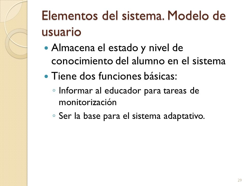 Elementos del sistema. Modelo de usuario