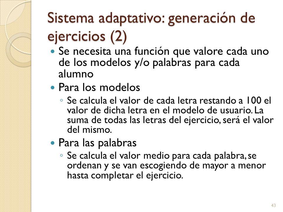 Sistema adaptativo: generación de ejercicios (2)