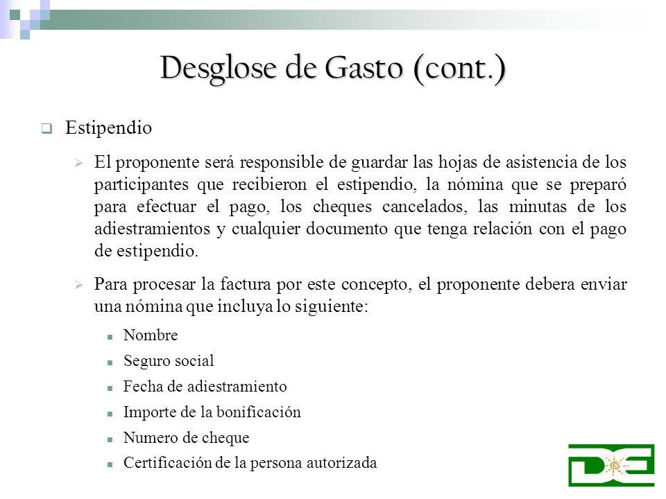 Desglose de Gasto (cont.)