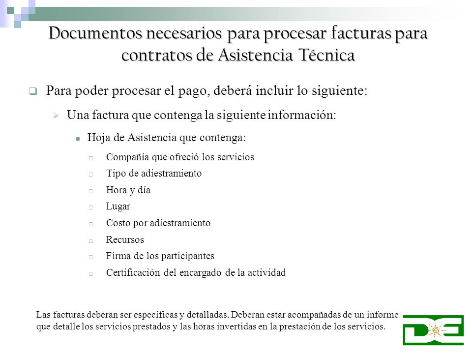 Documentos necesarios para procesar facturas para contratos de Asistencia Técnica