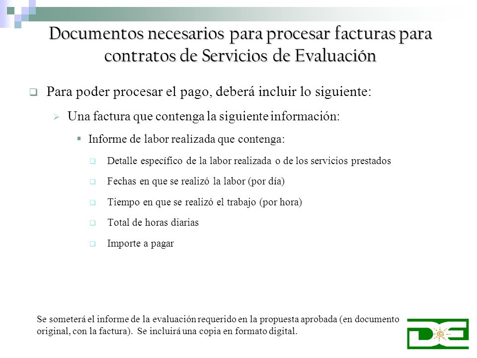 Documentos necesarios para procesar facturas para contratos de Servicios de Evaluación