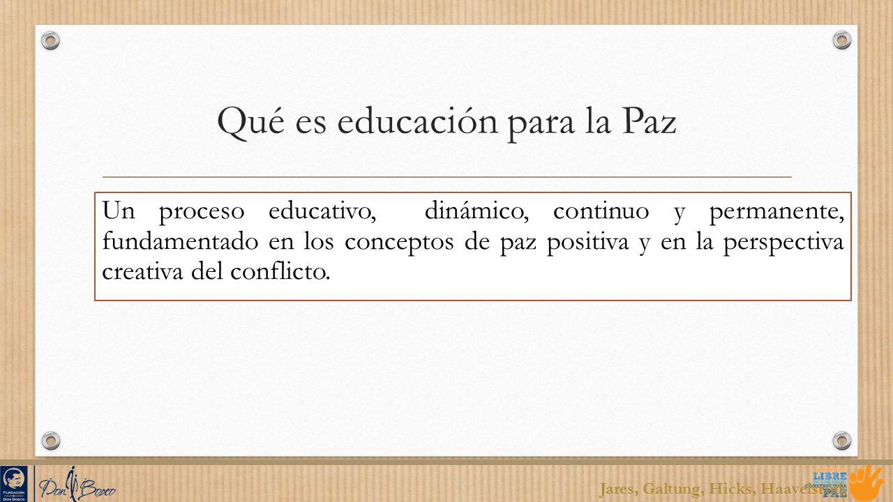 Qué es educación para la Paz