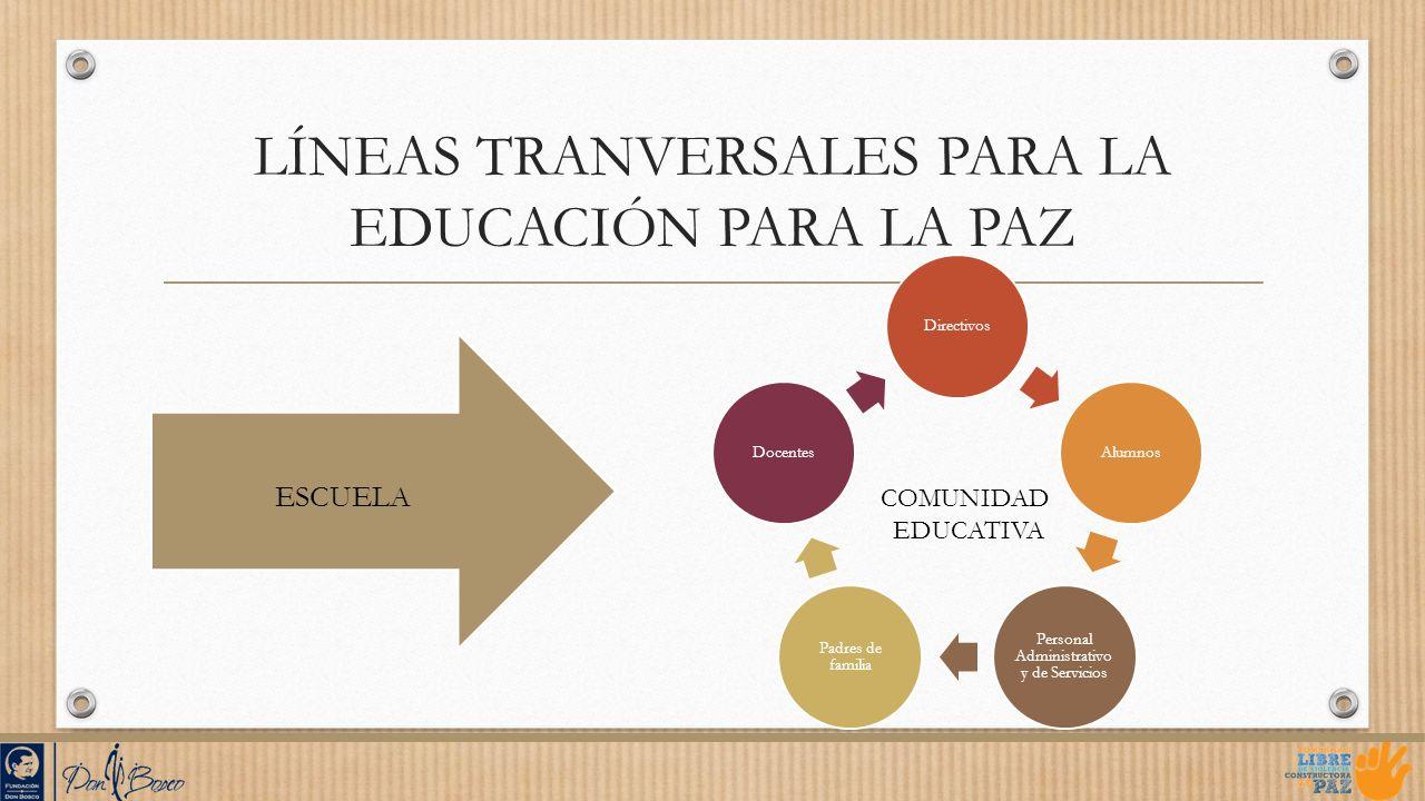 LÍNEAS TRANVERSALES PARA LA EDUCACIÓN PARA LA PAZ