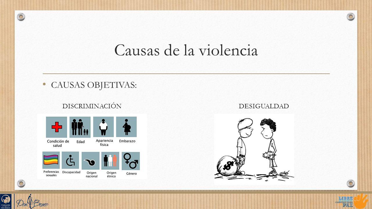 Causas de la violencia CAUSAS OBJETIVAS: DISCRIMINACIÓN DESIGUALDAD