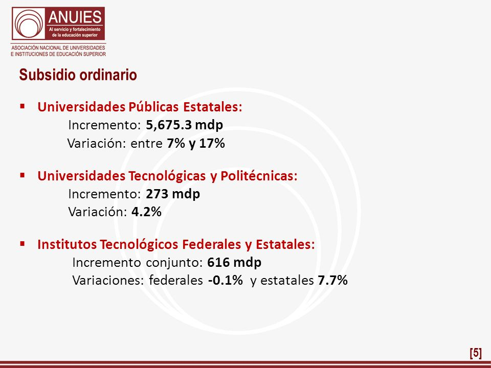 Subsidio ordinario Universidades Públicas Estatales: