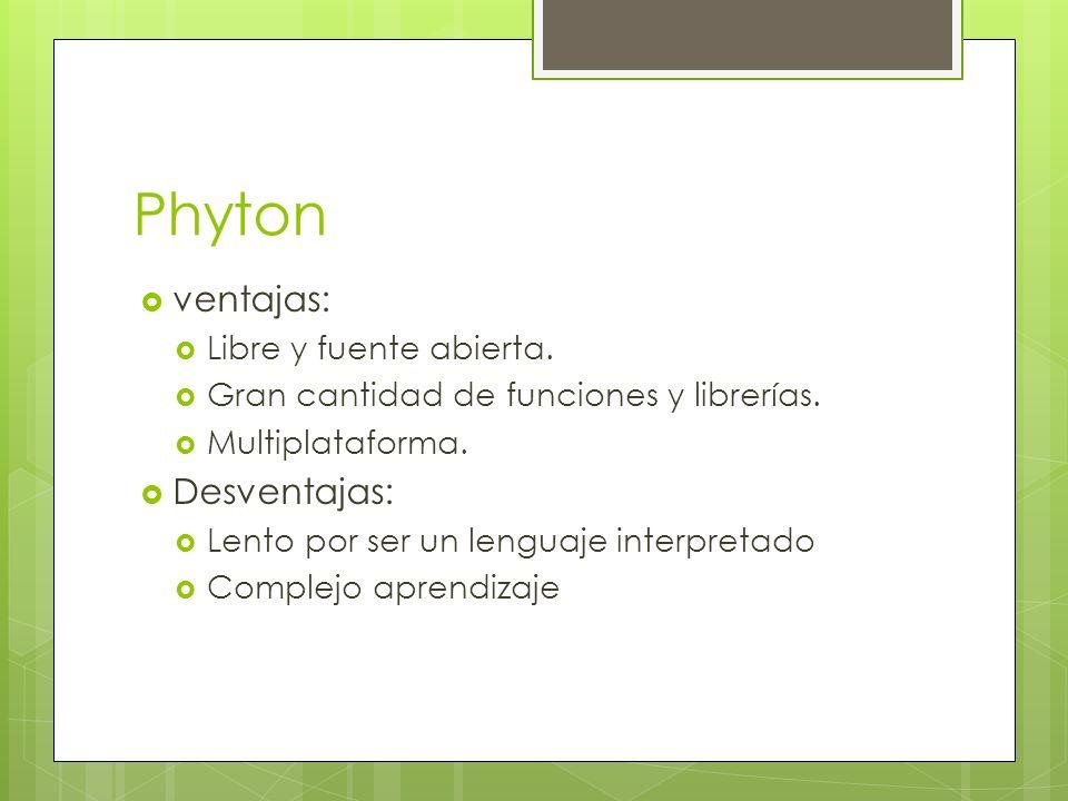 Phyton ventajas: Desventajas: Libre y fuente abierta.
