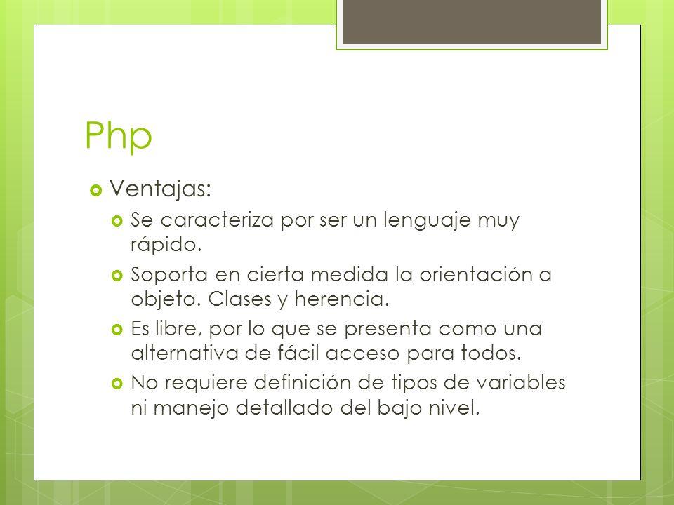 Php Ventajas: Se caracteriza por ser un lenguaje muy rápido.