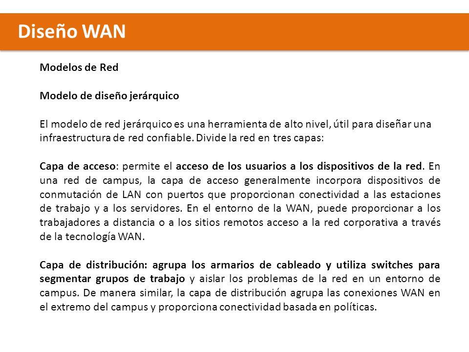 Diseño WAN Modelos de Red Modelo de diseño jerárquico