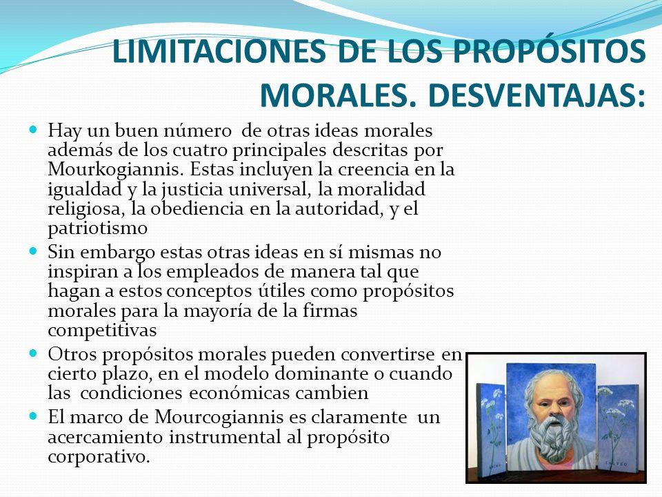 LIMITACIONES DE LOS PROPÓSITOS MORALES. DESVENTAJAS: