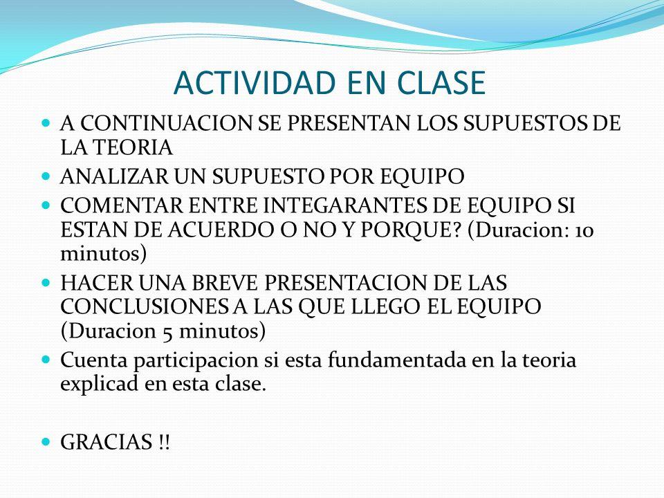 ACTIVIDAD EN CLASE A CONTINUACION SE PRESENTAN LOS SUPUESTOS DE LA TEORIA. ANALIZAR UN SUPUESTO POR EQUIPO.