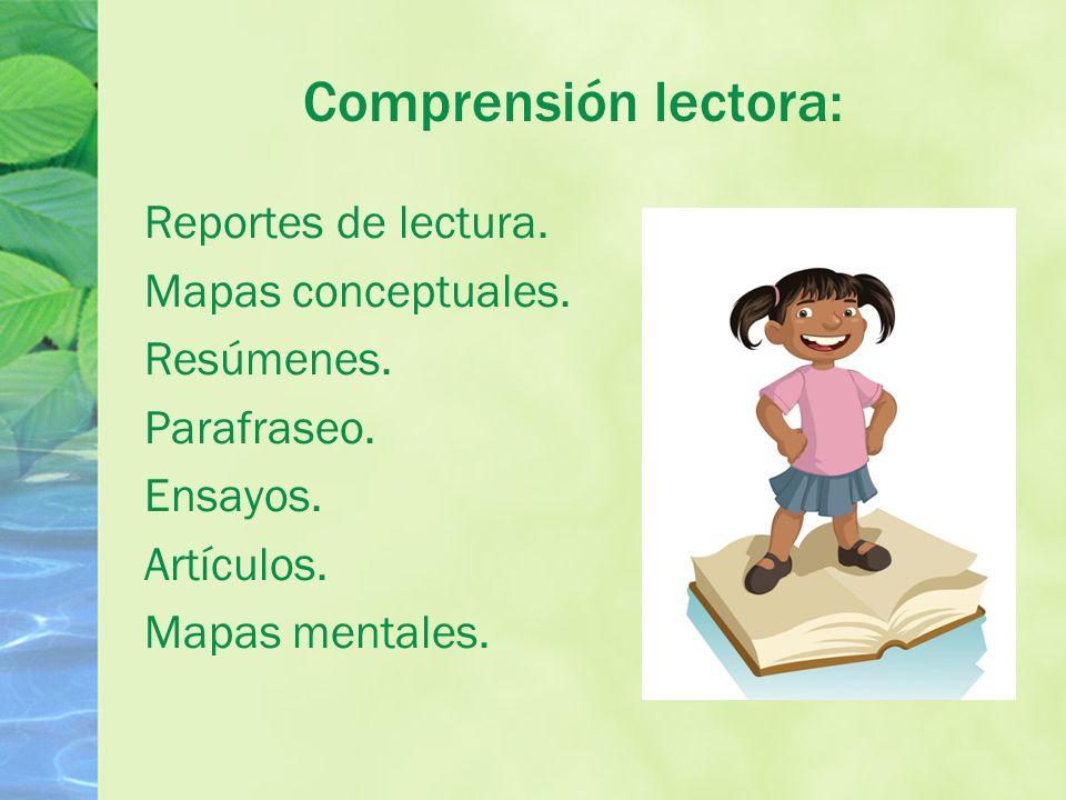 Comprensión lectora: Reportes de lectura. Mapas conceptuales.