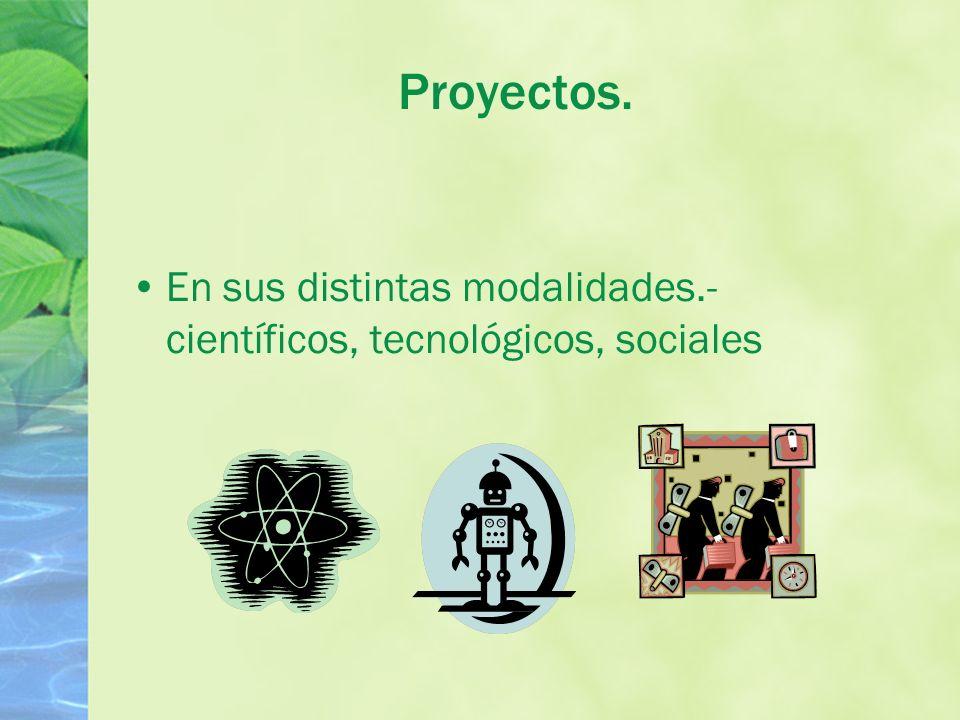 Proyectos. En sus distintas modalidades.- científicos, tecnológicos, sociales