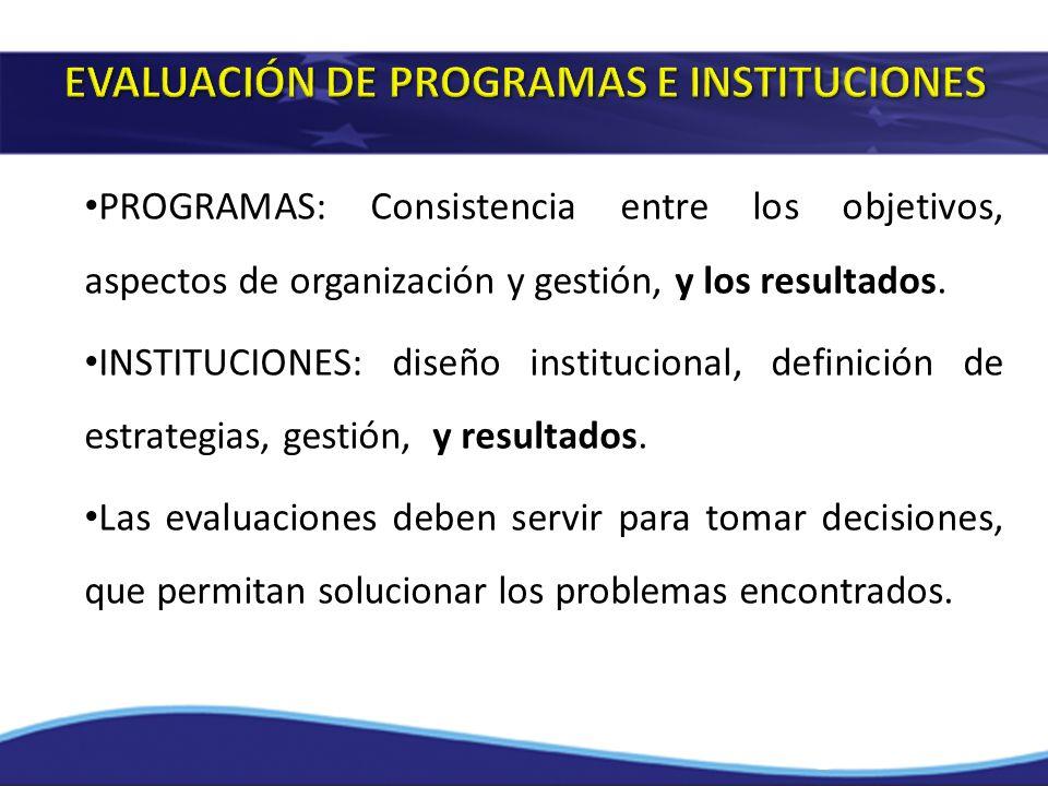 EVALUACIÓN DE PROGRAMAS E INSTITUCIONES